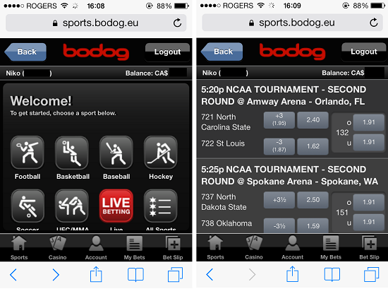 Bodog Mobile Sports Betting