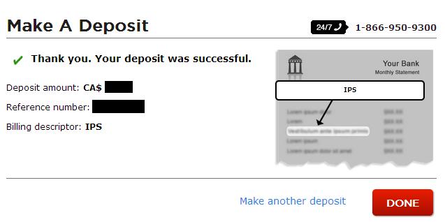 Direct Bank Transfer Successful Deposit