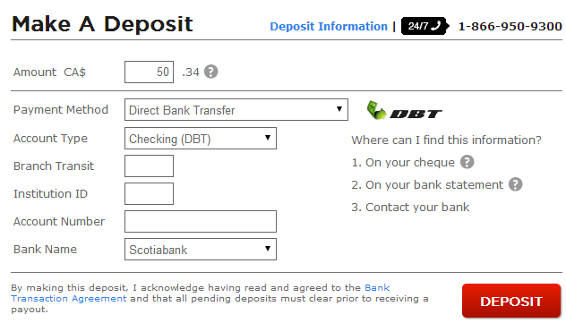 Direct Bank Transfer Deposit at Bodog