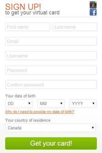 Entropay Registration Form