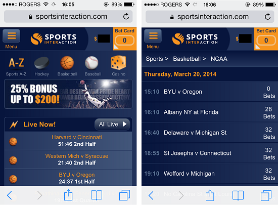 Sports Interaction Mobile Betting