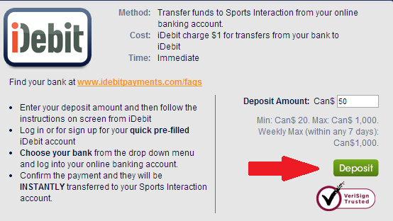 iDebit Deposit at Sports Interaction