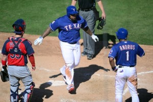 Mar 8, 2015; Surprise, AZ, USA; Texas Rangers first baseman Prince Fielder (84) crosses home plate after hitting a home run against the Cleveland Indians during to a spring training baseball game at Surprise Stadium. Mandatory Credit: Joe Camporeale-USA TODAY Sports