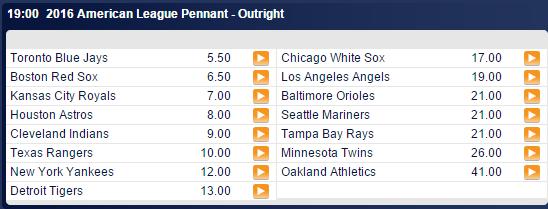 AL Pennant Winner Odds